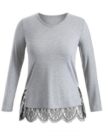 Cheap Long Sleeve Lace Panel Plus Size Tee GRAY 3XL