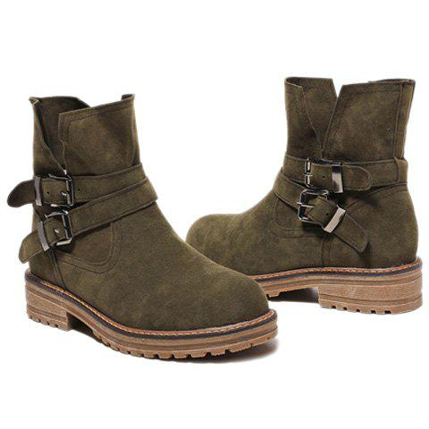 Latest Flat Heel Dark Colour Short Boots - 39 ARMY GREEN Mobile