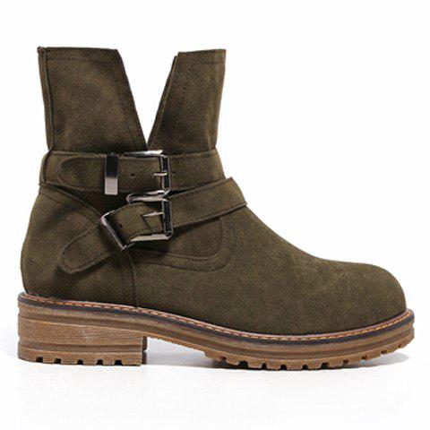 New Flat Heel Dark Colour Short Boots - 39 ARMY GREEN Mobile