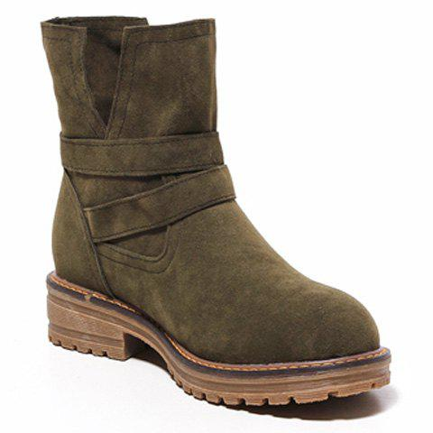 Outfits Flat Heel Dark Colour Short Boots - 39 ARMY GREEN Mobile