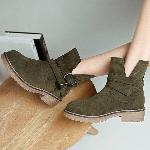 Chic Flat Heel Dark Colour Short Boots - 39 ARMY GREEN Mobile