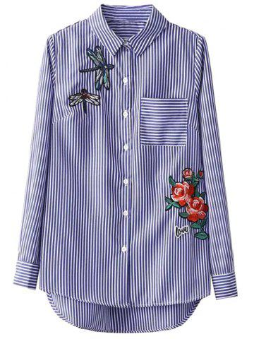 Cheap Striped High Low Dragonfly Embroidered Shirt BLUE AND WHITE M