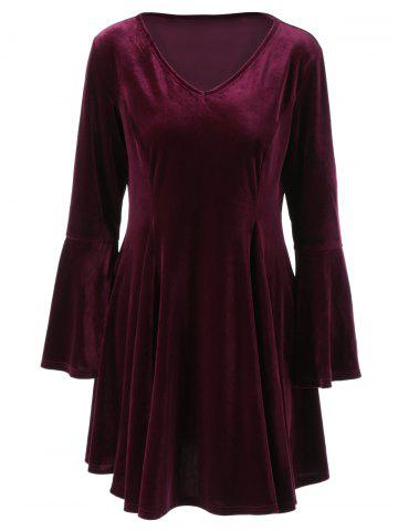 New Flare Long Sleeve Velvet Skater Cocktail Dress