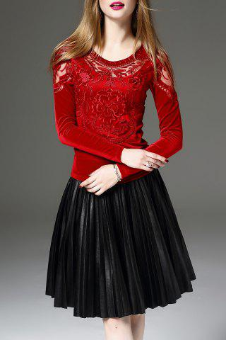 Buy Mesh Insert Embroidered Long Sleeve Top - Red XL