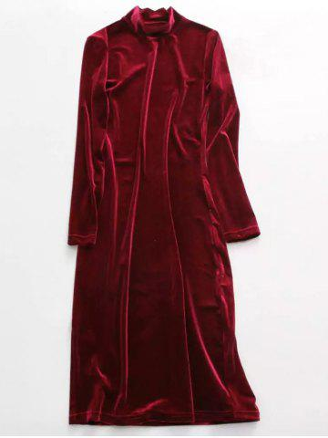 Shops Stand Neck Long Sleeve Velvet Dress WINE RED ONE SIZE