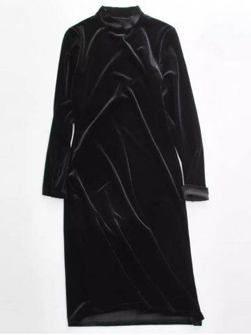 Stand Neck Long Sleeve Velvet Dress - Black ONE SIZE