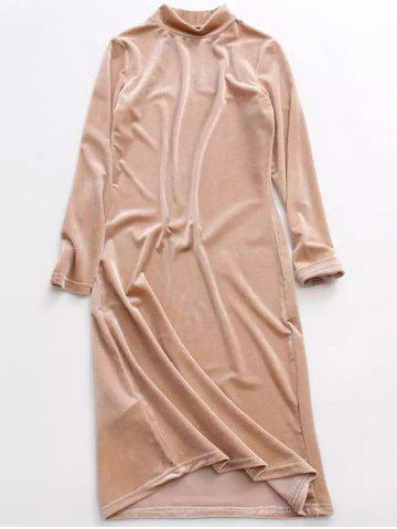 Stand Neck Long Sleeve Velvet Dress - Yellowish Pink ONE SIZE