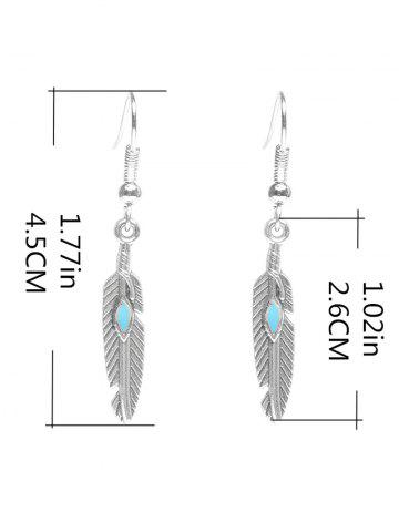 Outfits Beaded Resin Feather Drop Earrings - SILVER  Mobile
