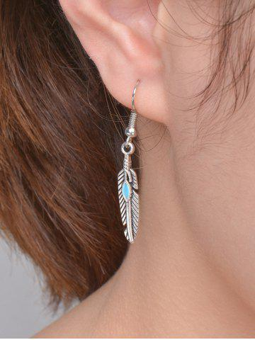 Chic Beaded Resin Feather Drop Earrings - SILVER  Mobile