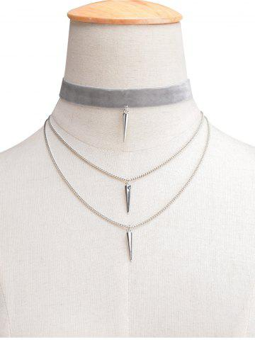 Hot Layered Rivet Velvet Choker Necklace LIGHT GRAY
