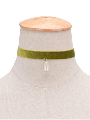 Store Faux Pearl Velvet Water Drop Choker GREEN