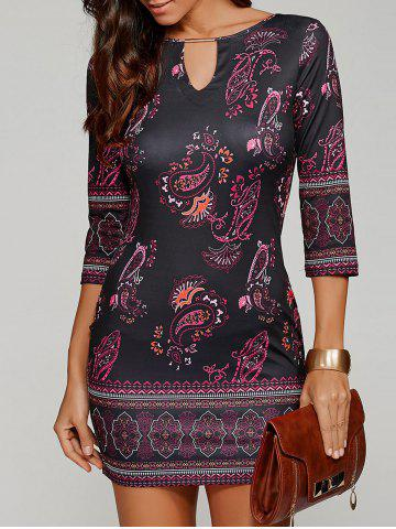 Paisley Keyhole Neck Mini Dress with Sleeves - Black - M