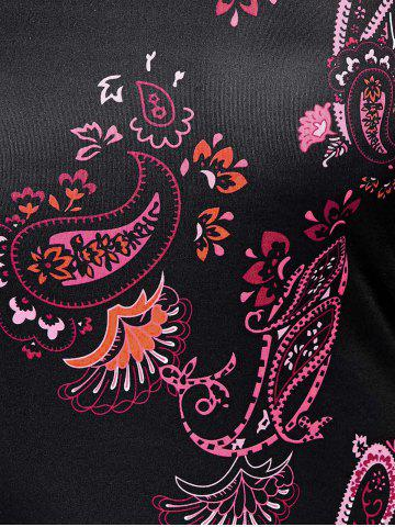 Online Paisley Keyhole Neck Mini Dress with Sleeves - M BLACK Mobile
