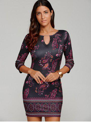 Outfit Paisley Keyhole Neck Mini Dress with Sleeves - XL BLACK Mobile