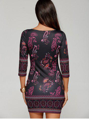 Discount Paisley Keyhole Neck Mini Dress with Sleeves - XL BLACK Mobile