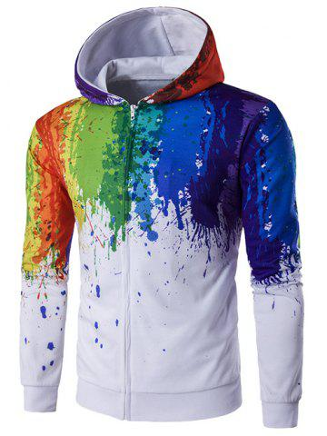 Paint Splatter Printed Zip-Up Hoodie
