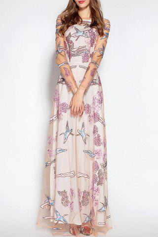 See Thru Embroidered Tulle Wedding Maxi Dress - Pink - M