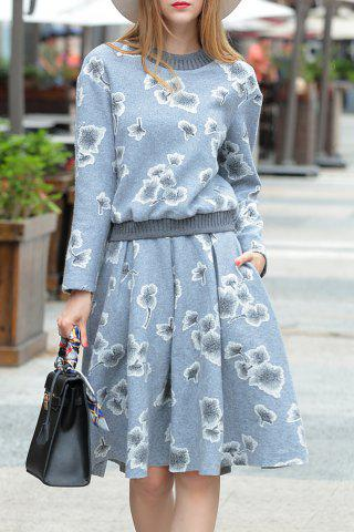 Latest Floral Sweatshirt with A Line Skirt GRAY S
