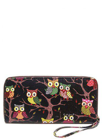 Zip Around Owl Print PU Leather Wallet - Black