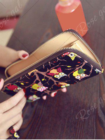 Latest Zip Around Owl Print PU Leather Wallet - BLACK  Mobile