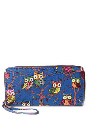 Unique Zip Around Owl Print PU Leather Wallet - BLUE  Mobile