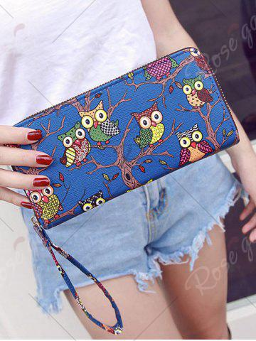 Fashion Zip Around Owl Print PU Leather Wallet - BLUE  Mobile