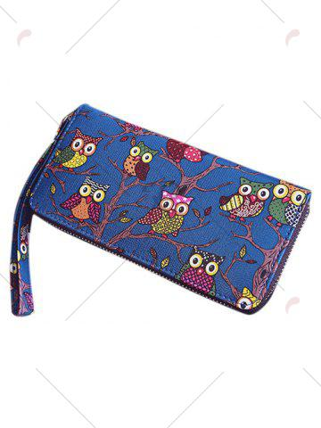 Shops Zip Around Owl Print PU Leather Wallet - BLUE  Mobile
