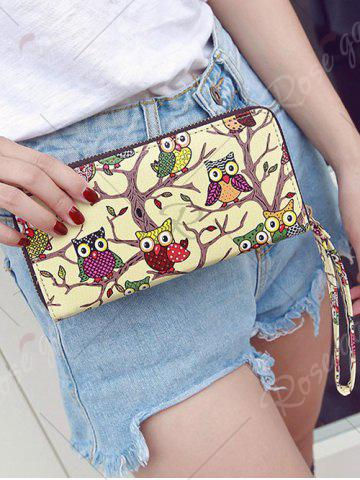 Chic Zip Around Owl Print PU Leather Wallet - BEIGE  Mobile