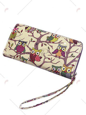 Discount Zip Around Owl Print PU Leather Wallet - BEIGE  Mobile