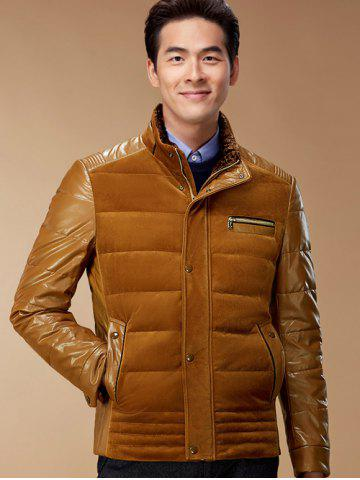 PU-Leather and Corduroy Spliced Zip-Up Down Jacket