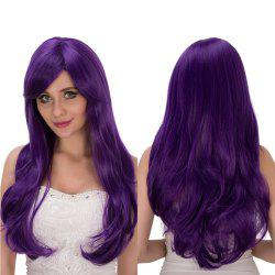 Oblique Bang Long Wavy Tail Adduction Lolita Wig - VIOLET