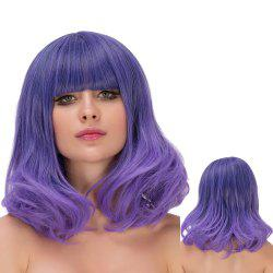 Medium Neat Bang Wavy Ombre Tail Adduction Lolita Wig - PURPLE