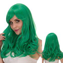 Long Fluffy Wavy Oblique Bang Synthetic Lolita Wig - CRYSTAL GREEN