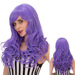 Shaggy Long Wavy Inclined Bang Synthetic Lolita Wig - PURPLE