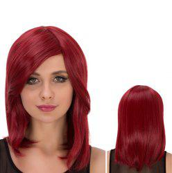Medium Side Bang Straight Vivid Heat Resistant Fiber Wig