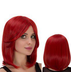 Vivid Medium Side Bang Straight Heat Resistant Fiber Wig
