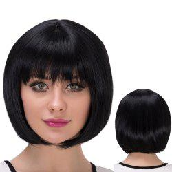 Short Natural Straight Neat Bang Bob Synthetic Wig