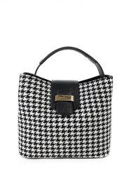 Colour Block Houndstooth Metal Tote Bag