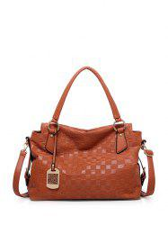 Embossing Plaid Pattern Metal Tote Bag