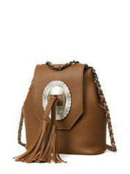Snap Closure Tassels Chain Crossbody Bag