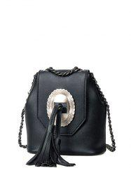 Snap Closure Tassels Chain Crossbody Bag - BLACK