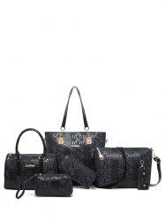 Metals Embossed PU Leather Shoulder Bag - BLACK
