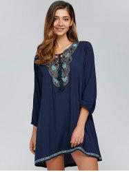 Tie-Front Embroidery Peasant Dress -