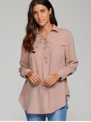 Lace-Up Flap Pockets Shirt -