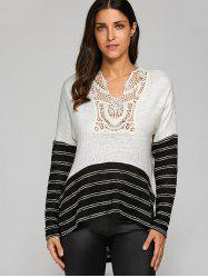 Hollow Out Side Slit Striped Trim Pullover -