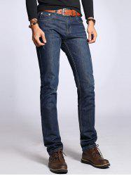 Sratched Five-Pocket Zipper Fly Straight Leg Jeans -