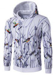 Long Sleeve Bird Printing Zippered Hoodie