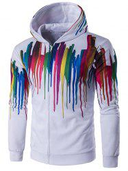 Long Sleeve Paint Dripping Printed Zippered Hoodie