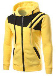 Contrast Paneled Drawstring Zippered Two Tone Hoodie