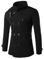 Zippered Back Vent Button Tab Cuff Pea Coat - BLACK
